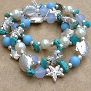 Jewelry - Silver Tone Turquoise Beach Stacking Set of 3